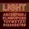 Red Neon Light Alphabet and Numbers Royalty Free Stock Photo