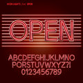 Red neon lights alphabet and digit vector set of Royalty Free Stock Image