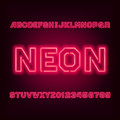 Red neon tube alphabet font. Type letters and numbers.