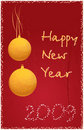Red New Year background with orange christmas ball Royalty Free Stock Photography