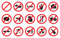 Red No Signs and Anti- Symbols for Prohibited Activities Royalty Free Stock Photo