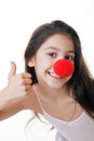 Red nose thumbs up Stock Photo