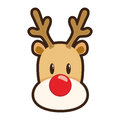 Red nosed reindeer cartoon illustration of rudolph the white background Stock Image