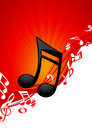 Red note music background Royalty Free Stock Photography