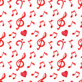 Red notes treble bass clef love music seamless pattern vector