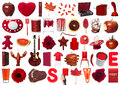 Red objects collage of on white background Stock Photo