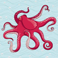 Red octopus on blue background illustration Royalty Free Stock Photos