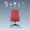 Red office chair in flat design with service icons set. Vector. Royalty Free Stock Photo