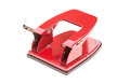 Red office hole puncher isolated on a white background Royalty Free Stock Photos