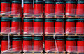 Red oildrums on pallets Royalty Free Stock Images