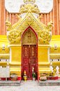 Red old door at Wat Phra That Phanom, Nakhon Phanom Province Royalty Free Stock Photo