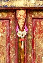 Red old door at Wat Phra That Phanom, Nakhon Phanom Province. Royalty Free Stock Photo