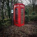 Red old English phone box West Yorkshire north England Royalty Free Stock Photo