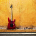 Red Old Guitar Royalty Free Stock Photography