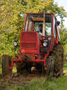Red old tractor Stock Photo