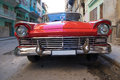 Red oldtimer car in Havana Royalty Free Stock Photo
