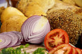 Red Onion And Bread Royalty Free Stock Photo