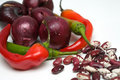 Red onion, chilli pepper and haricot beans, close- Royalty Free Stock Images