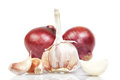 Red onion and garlic. Royalty Free Stock Image
