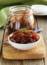 Red onion marmalade with thyme Royalty Free Stock Photo