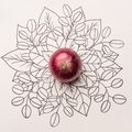 Red onion over outline floral background