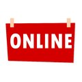 Red Online Sign - illustration on white background
