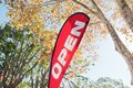 Red Open House for Sale/Rent signage in Autumn Royalty Free Stock Photo