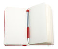 Red open notepad (paper) with pen Royalty Free Stock Photography