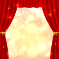 Red opened vector theatrical curtain Royalty Free Stock Photography