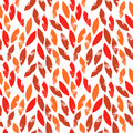Red and orange autumn leaves grunge seamless pattern, vector