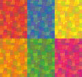 Red, orange, blue, yellow, magenta and green background of squares