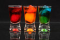 Red, orange and green shots Royalty Free Stock Photo