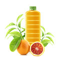 Red orange juice in a plastic container jug with fresh and leaves on a white background Stock Image