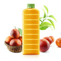 Red orange juice in a plastic container jug with fresh and leaves on a white background Royalty Free Stock Photo