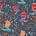 Red and orange roses with beige and orange seeds on grey background seamless pattern. Royalty Free Stock Photo