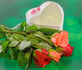 Red and orange roses flowers with heart shape box valentines day green light bokeh background close up Royalty Free Stock Photos