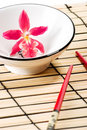 Red orchid and sushi set Stock Image