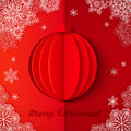 Red origami paper vector christmas ball realistic Royalty Free Stock Image