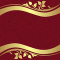 Red ornamental Background with golden floral Borders. Royalty Free Stock Photo