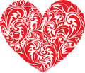 Red ornamental  floral heart on white background. Royalty Free Stock Photo