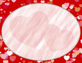 Red oval frame with hearts Royalty Free Stock Photography