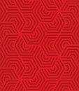 Red overlapping striped hexagons seamless geometric background d layered and textured pattern with realistic shadow and cut out Stock Images