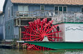 Red paddle wheel river boat with in michigan Royalty Free Stock Images