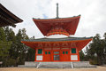 Red pagoda Japanese Temple in Koyasan,Wagayama,Japan Royalty Free Stock Photo