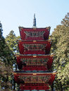 Red pagoda at world heritage site nikko japan old in the Stock Photography