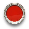 Red paint high angle view of isolated on white background Stock Image
