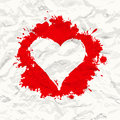 Red painted heart. Crumpled paper Stock Photo