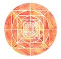 Red painted mandala