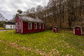 Red Painted Rural Schoolhouse - Fredericktown, Ohio Royalty Free Stock Photo