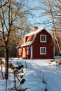 Red painted Swedish wooden house Royalty Free Stock Photo